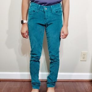 Lucky Brand Teal Blue Mid-rise Skinny Corduroy